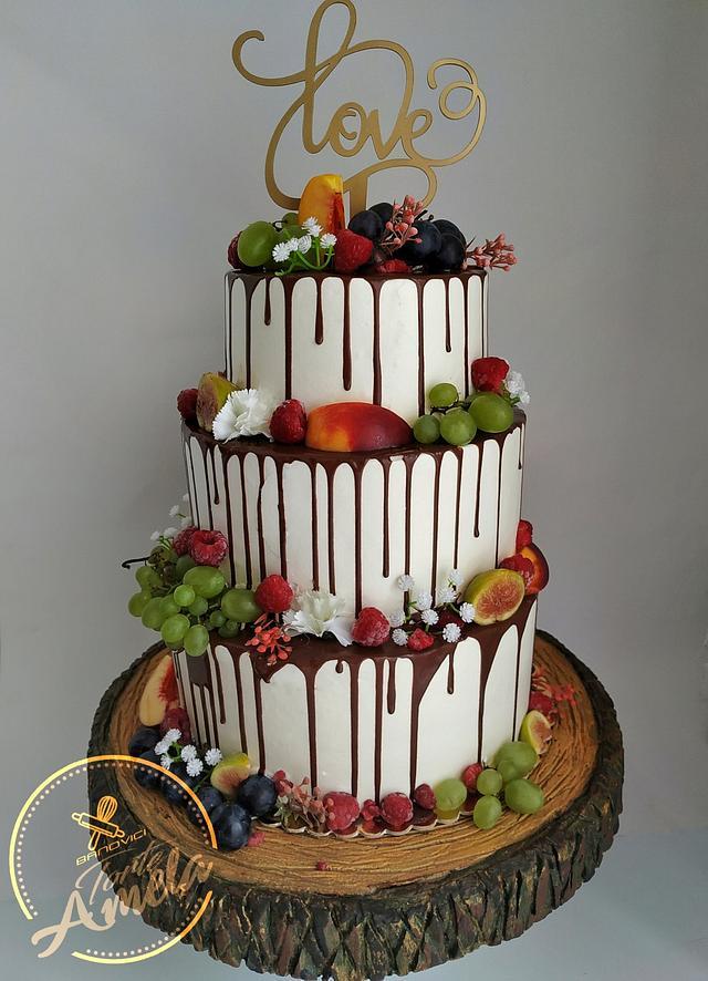 Fruit drip wedding cake