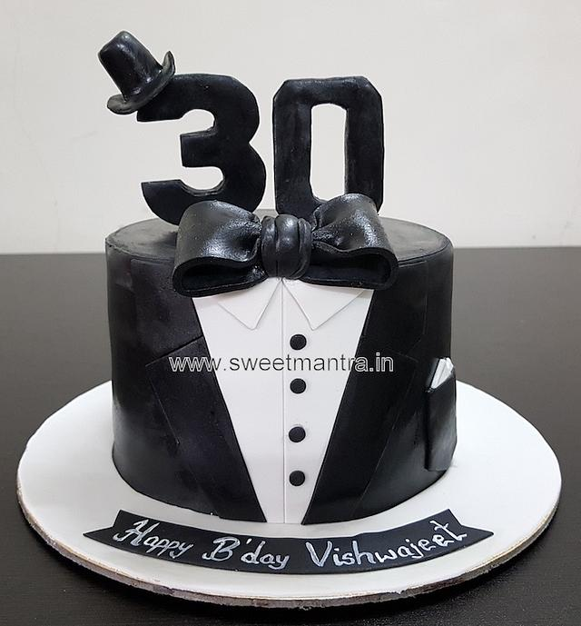 Fabulous Smart Tuxedo Theme Customised Fondant Cake For Boys 30Th Cakesdecor Funny Birthday Cards Online Elaedamsfinfo