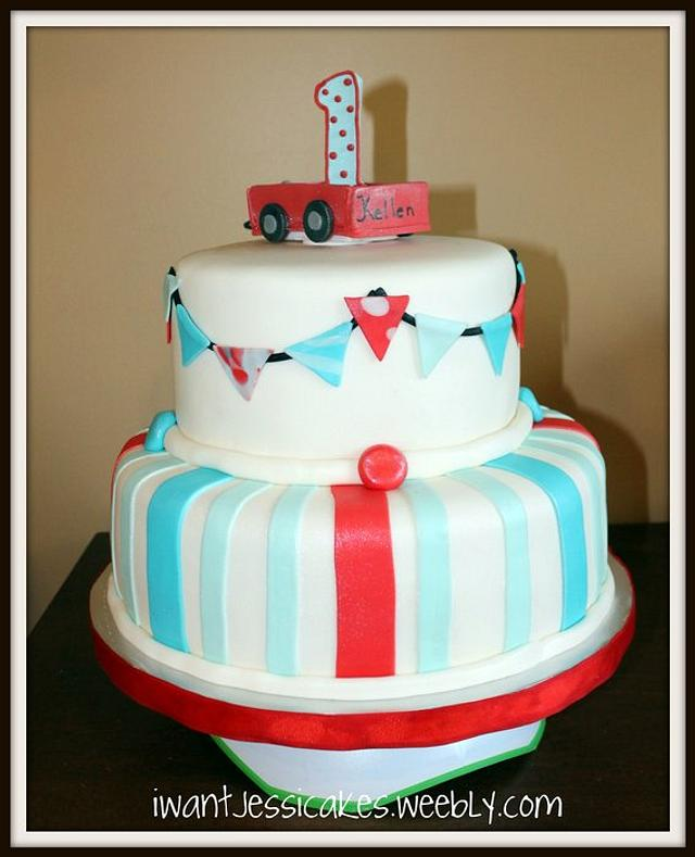 Red & Aqua 1st birthday