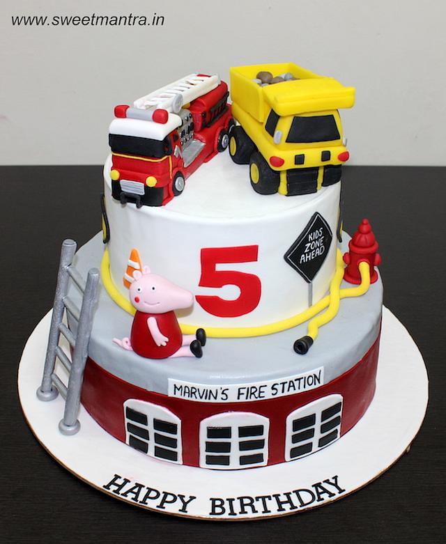 Prime Fire Engine And Dump Truck Theme 2 Layer Fondant Birthday Cakesdecor Birthday Cards Printable Nowaargucafe Filternl