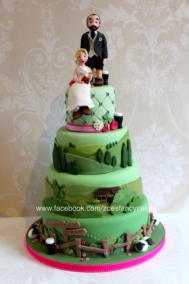 Yorkshire Dales themed wedding cake for crisp and beer loving walkers