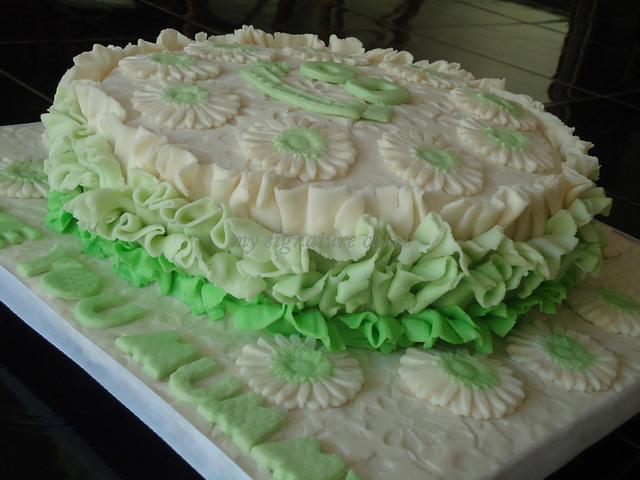 ruffled birthday cake.