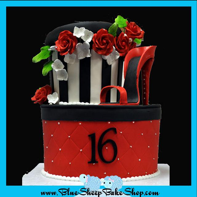 Sweet 16 hat box inspired birthday cake