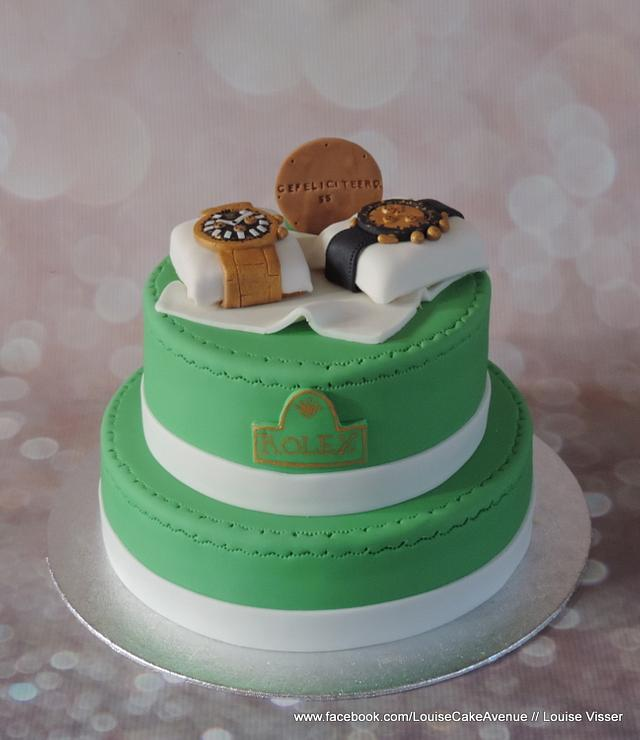 Rolex cake with painted details