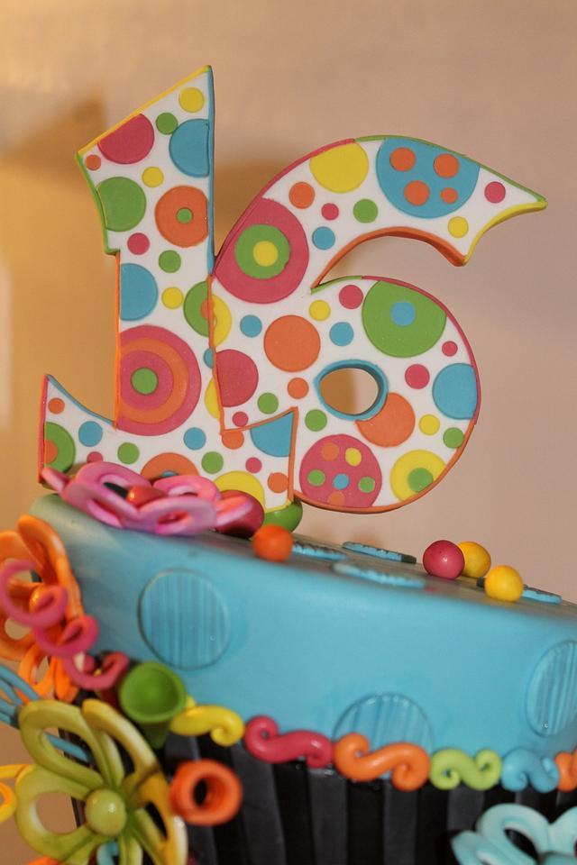 Sweet 16 Neon Cake