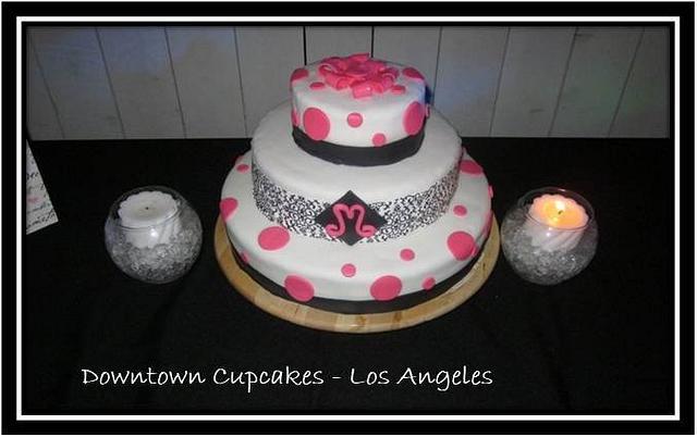 Black, White, & Pink Cake
