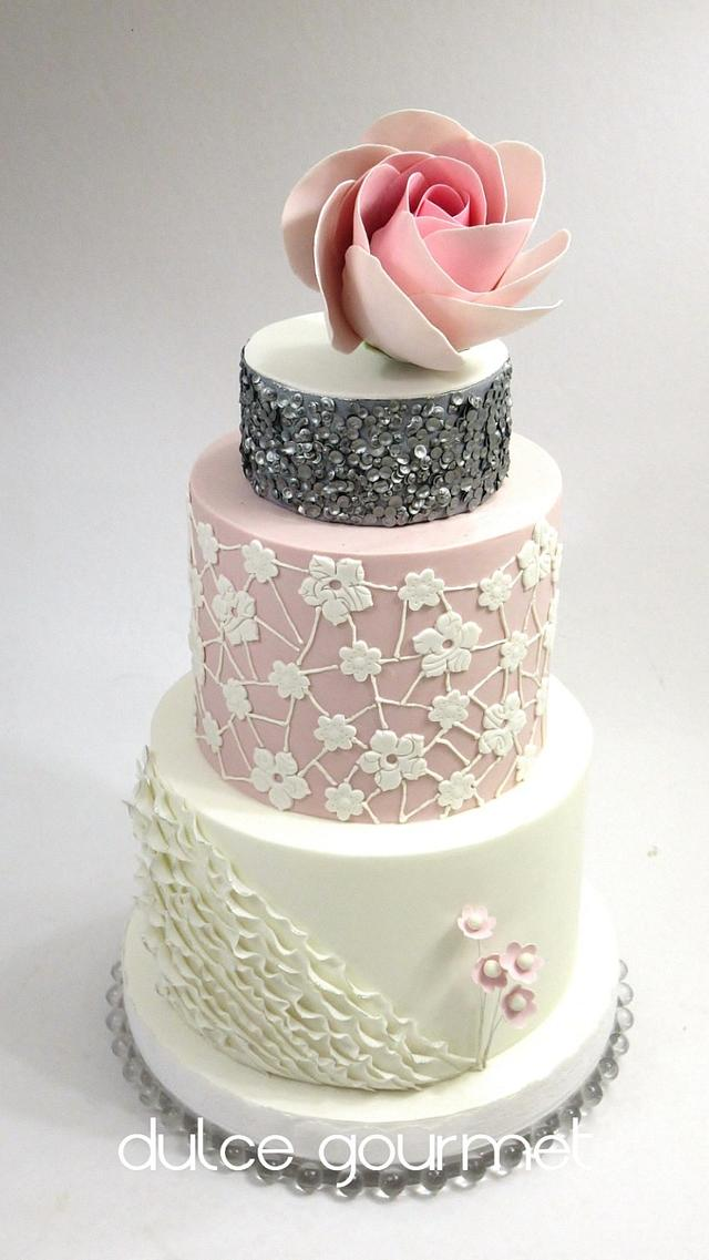Giant modern rose and sequins