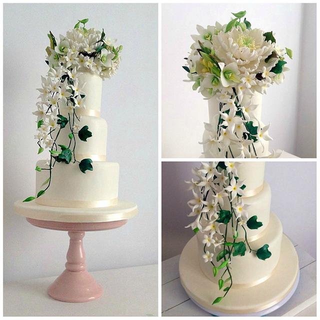 Gumpaste Flowers For Wedding Cakes: Sugar Flowers Bouquet Wedding Cake. Peony , Jazmin