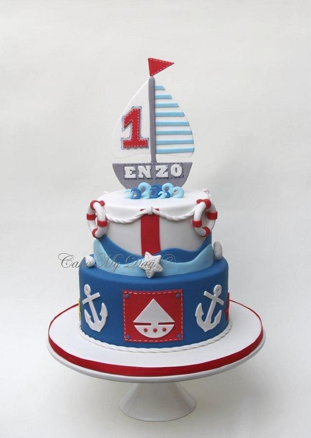 Awe Inspiring Nautical Birthday Party Cake By Cake My Day Cakesdecor Funny Birthday Cards Online Sheoxdamsfinfo
