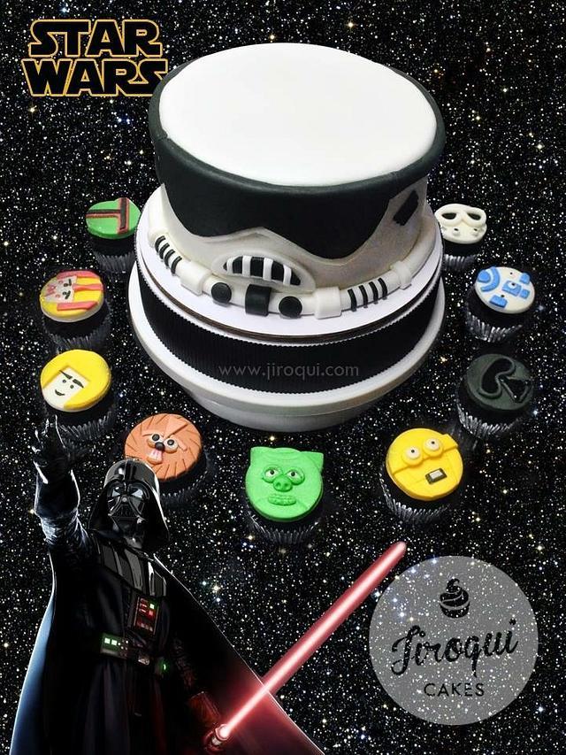Starwars Stormtrooper Cake and Cupcakes