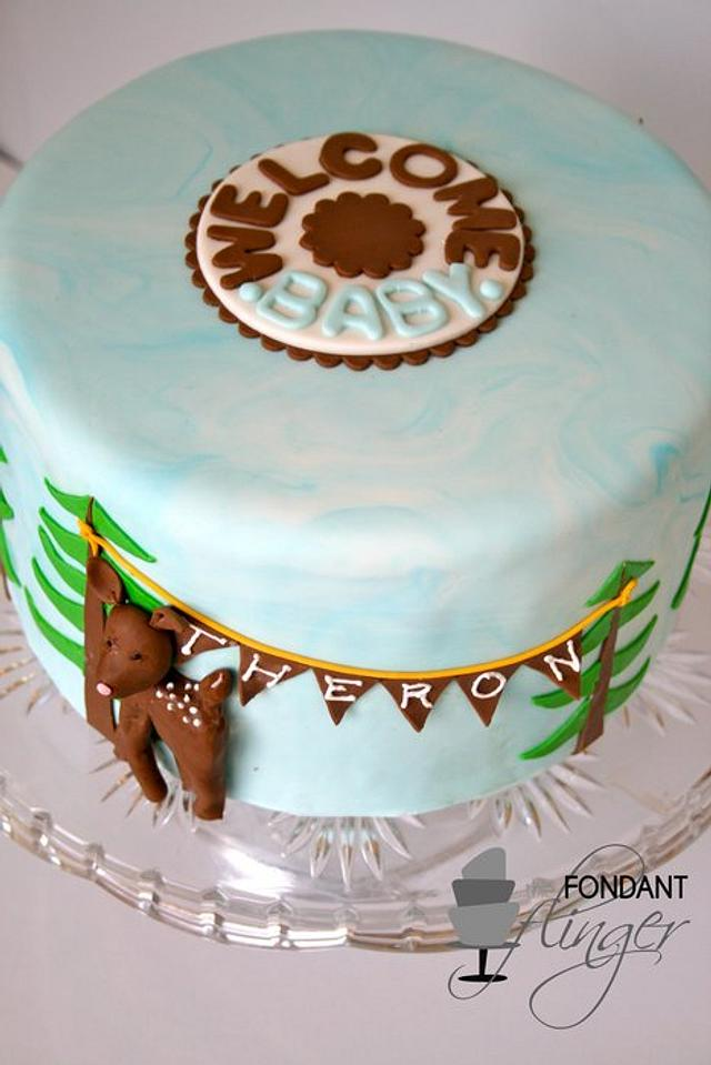 Deer with Flag Bunting Baby Shower Cake