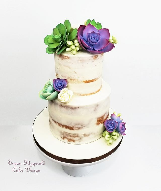 Semi Naked Wedding Cake with Sugar Succulents