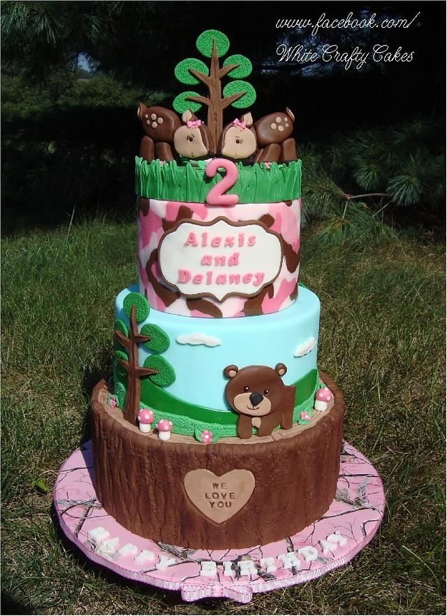 Astounding Pink Camo Woodland Themed Cake Cake By Toni White Cakesdecor Funny Birthday Cards Online Overcheapnameinfo