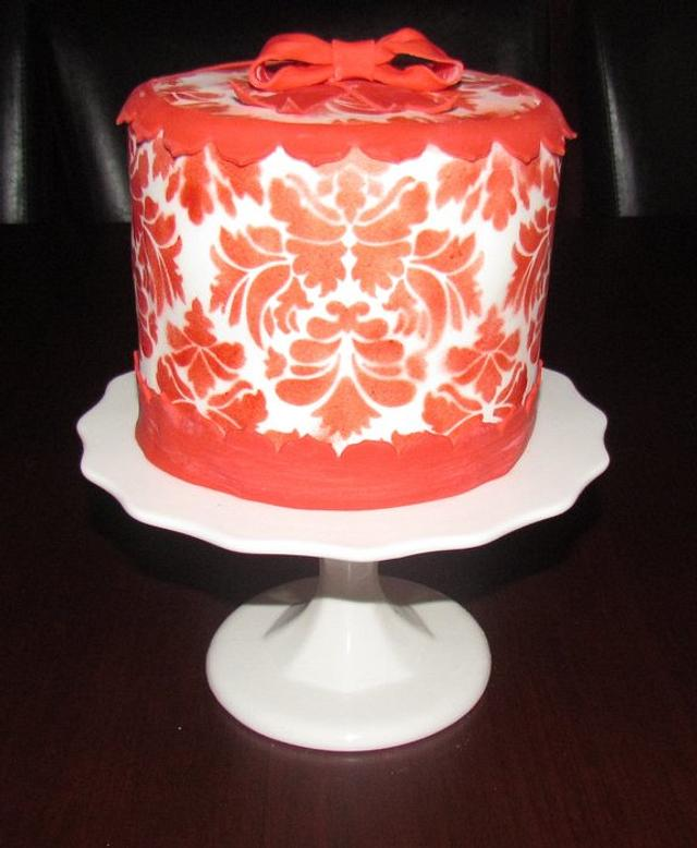 Red and White Damask Cake