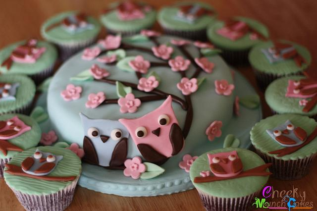 Love Owl Cake and Cupcakes