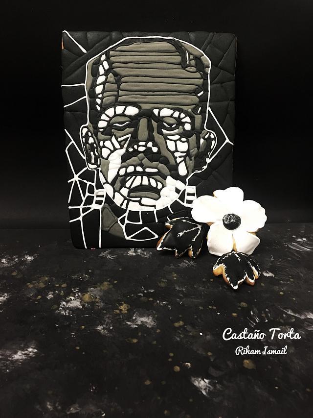 Frankenstein collaboration-Frankenstein & his flower mosaic cookies