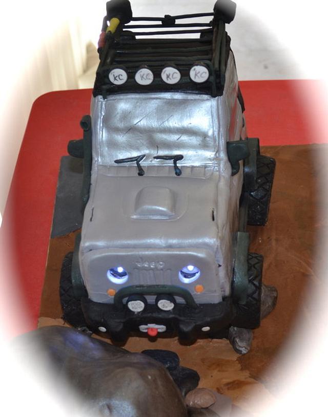 3D Jeep Cake w/ working headlights!