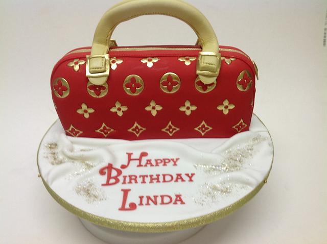 LV hand painted handbag cake