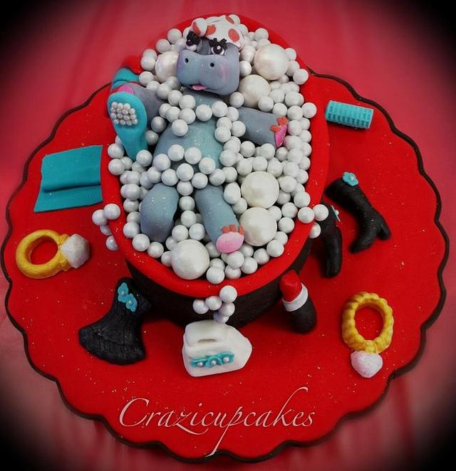 Girly hippo cake