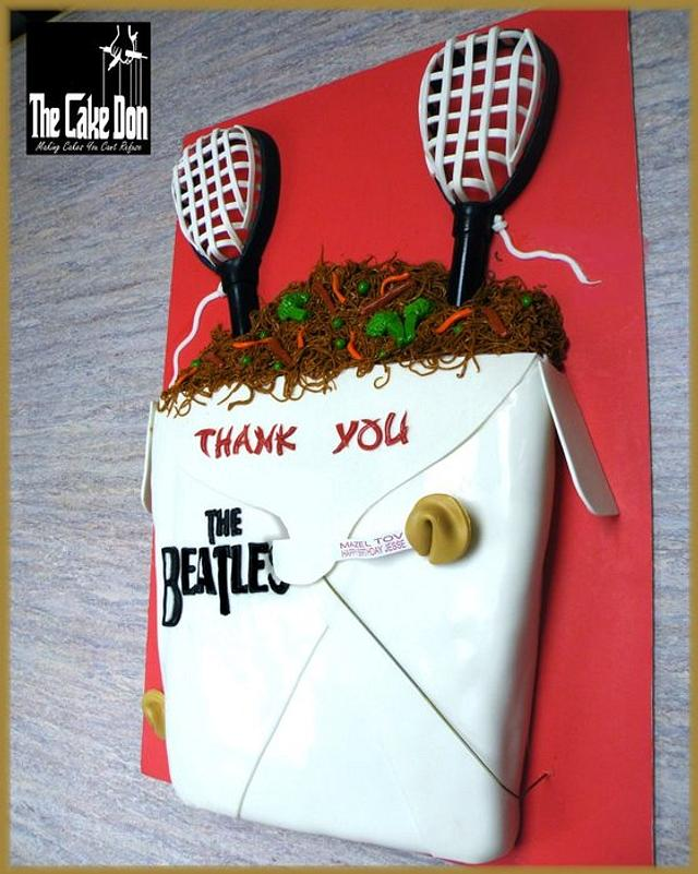 Lacrosse/The Beatles/Chinese Food - Bar Mitzvah cake