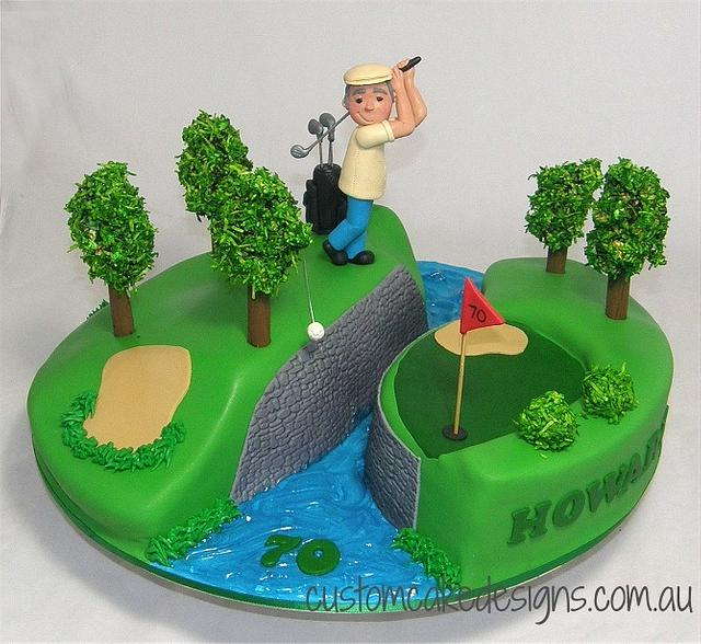 Surprising Golfing 70Th Birthday Cake Cake By Custom Cake Designs Cakesdecor Funny Birthday Cards Online Alyptdamsfinfo