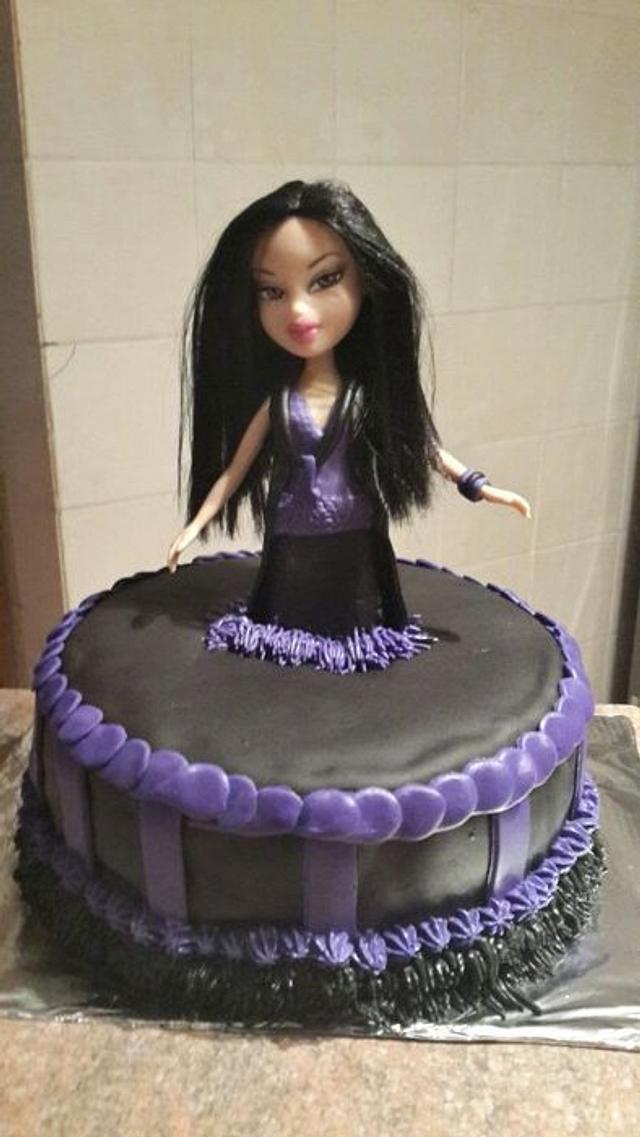 Incredible Black And Purple Bratz Doll Cake Cake By Chantal Cakesdecor Personalised Birthday Cards Akebfashionlily Jamesorg