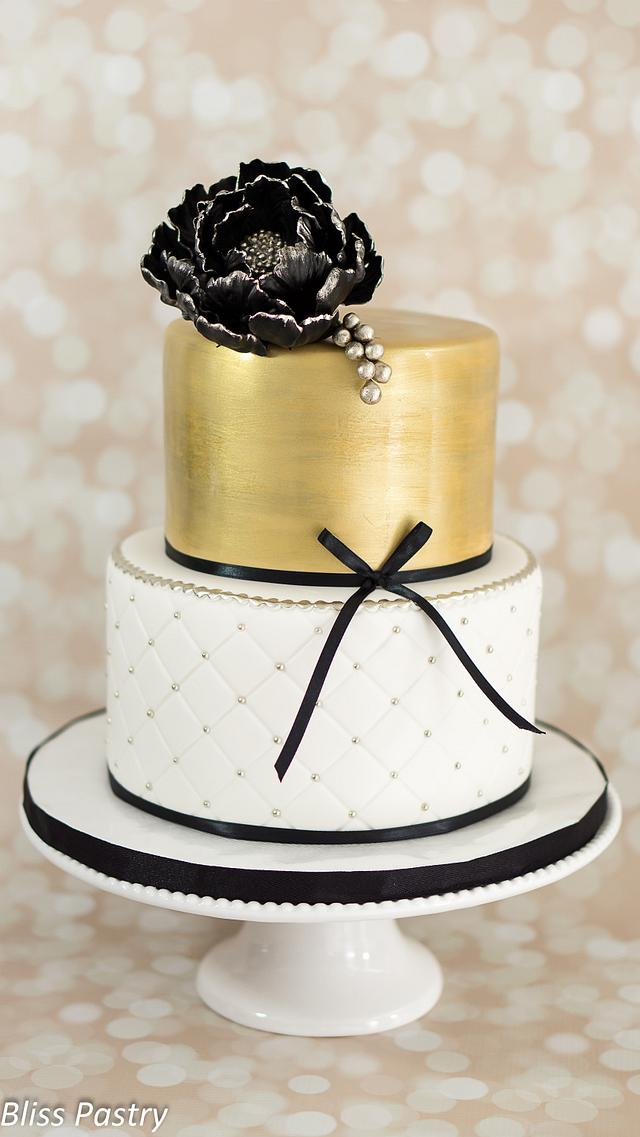 Amazing Black White And Gold Birthday Cake Cake By Bliss Pastry Cakesdecor Funny Birthday Cards Online Alyptdamsfinfo