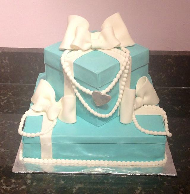 Tiffany bridal shower cake and cupcakes