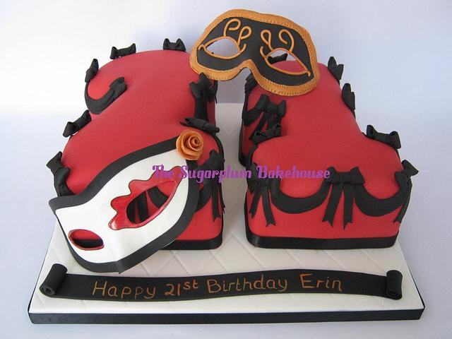 21st Birthday Cake - Masquerade Theme