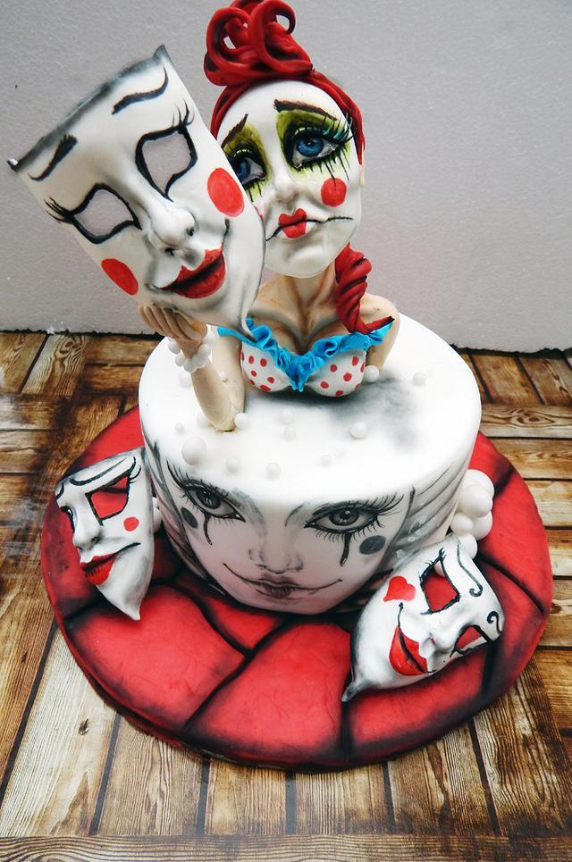 Clown woman cake