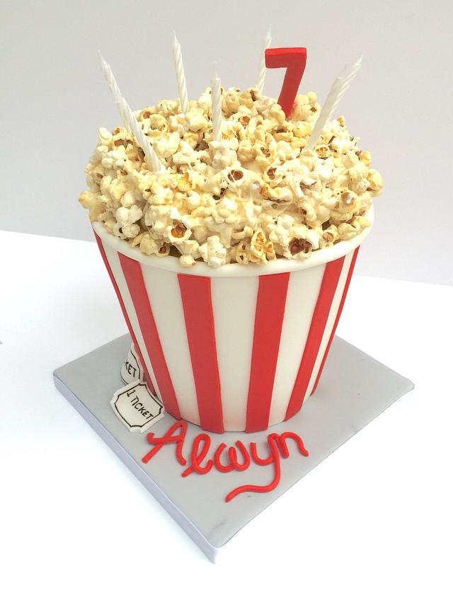 Marvelous Cinema Theme Popcorn Birthday Cake Cake By Cakesdecor Funny Birthday Cards Online Fluifree Goldxyz