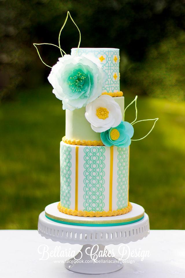 Spring gold and leaf green wedding cake