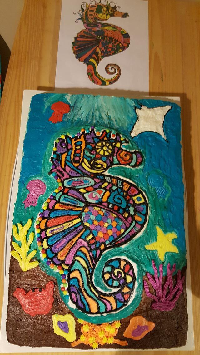 Seahorse birthday cake