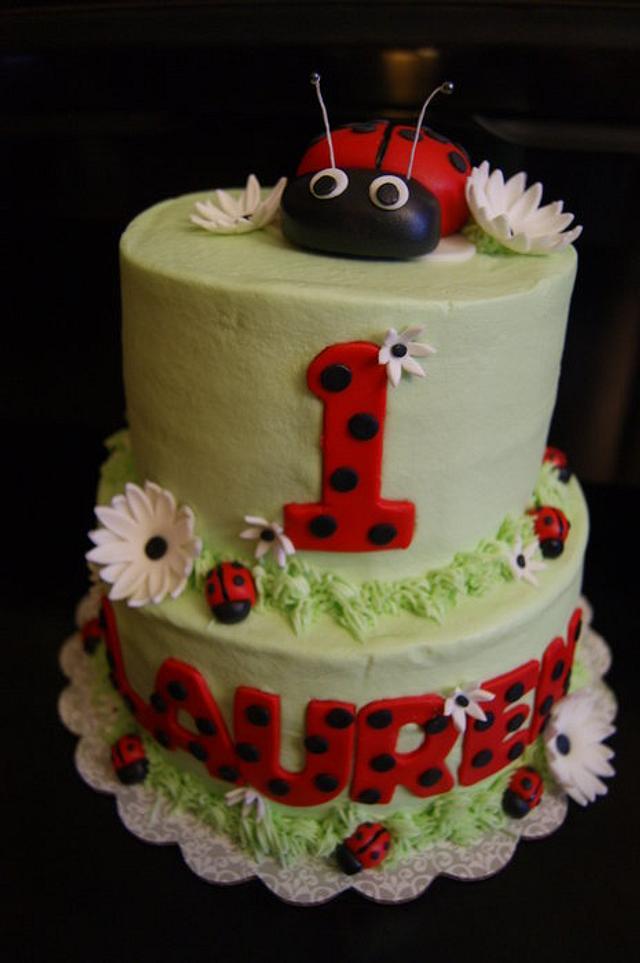 Astonishing Lady Bug 1St Birthday Cake Cake By Littlejo Cakesdecor Funny Birthday Cards Online Overcheapnameinfo