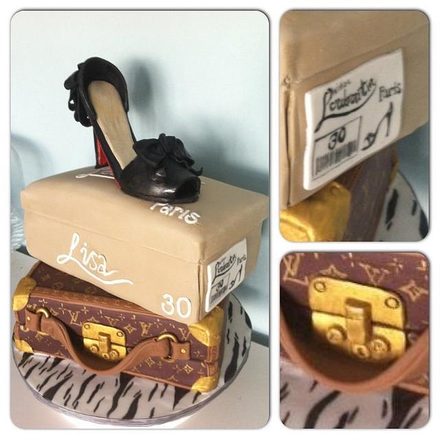 Louboutin shoe on Louis Vuitton case