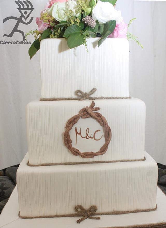 Rustic Romantic Wedding Cake with vertical line detailing and edible twig monogram