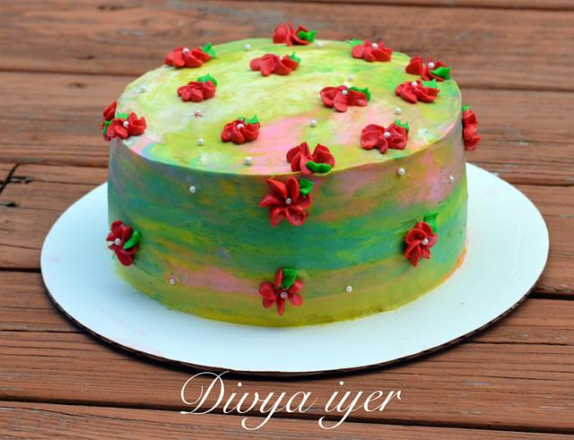 Buttercream water color cake