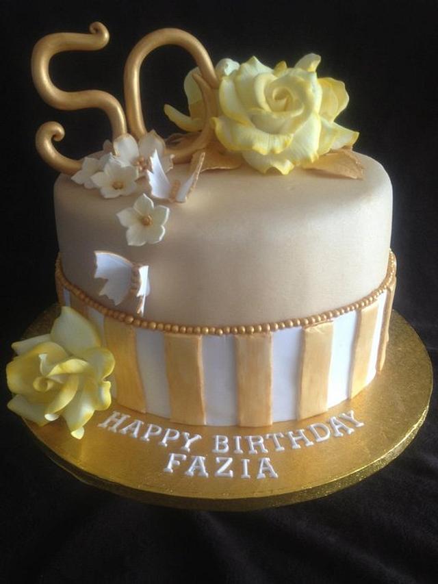 Brilliant Gold Vintage 50Th Birthday Cake Cake By Verenicecakes Cakesdecor Funny Birthday Cards Online Fluifree Goldxyz