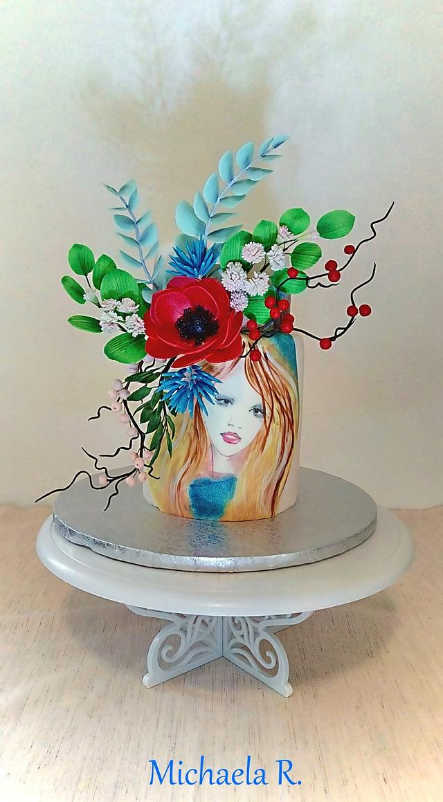 Hand painted flower lady