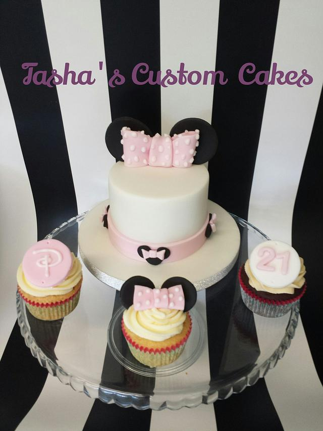 Minnie & Disney themed cake and cupcakes