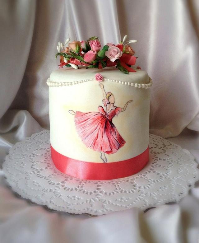 """Cake with hand-painted """" Ah ! ballet ,ballet!"""""""
