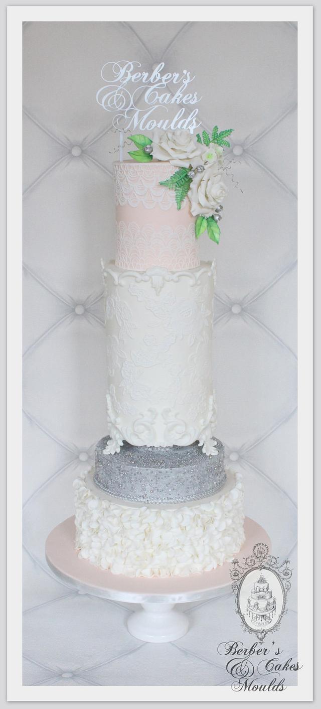 Peach silver ruffle lace baroque cake
