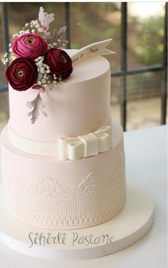 Burgundy Ranunculus Cake