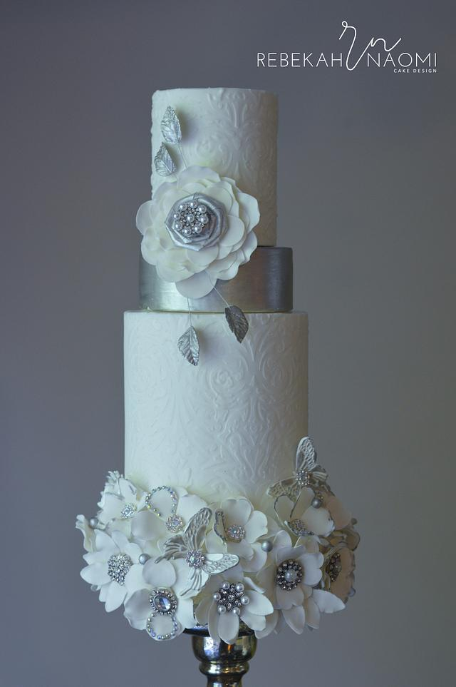 White and Silver Bouquet Wedding Cake