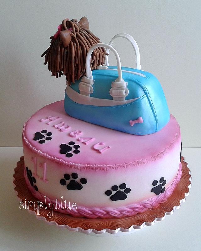 Dog in bag cake