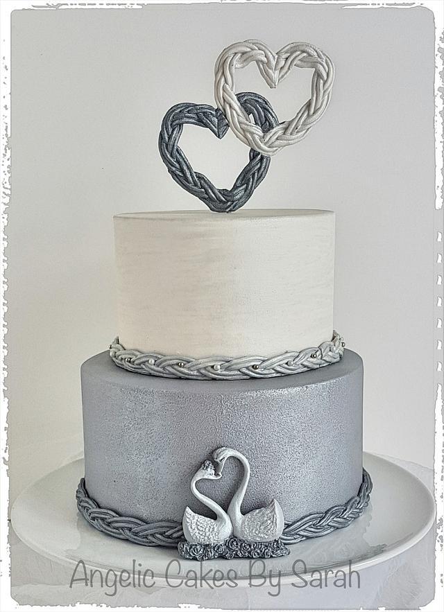 Small Silver Wedding Cake Trio 3