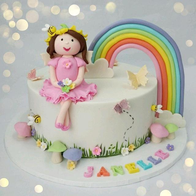 Rainbow & Garden fairy cake