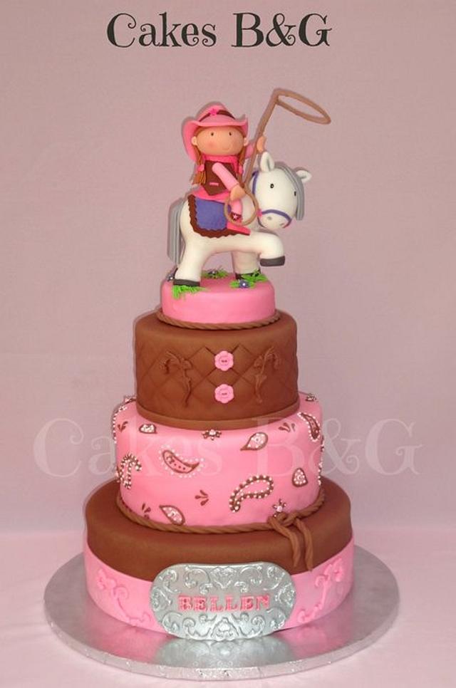Groovy Cowgirl Birthday Cake Cake By Laura Barajas Cakesdecor Personalised Birthday Cards Bromeletsinfo