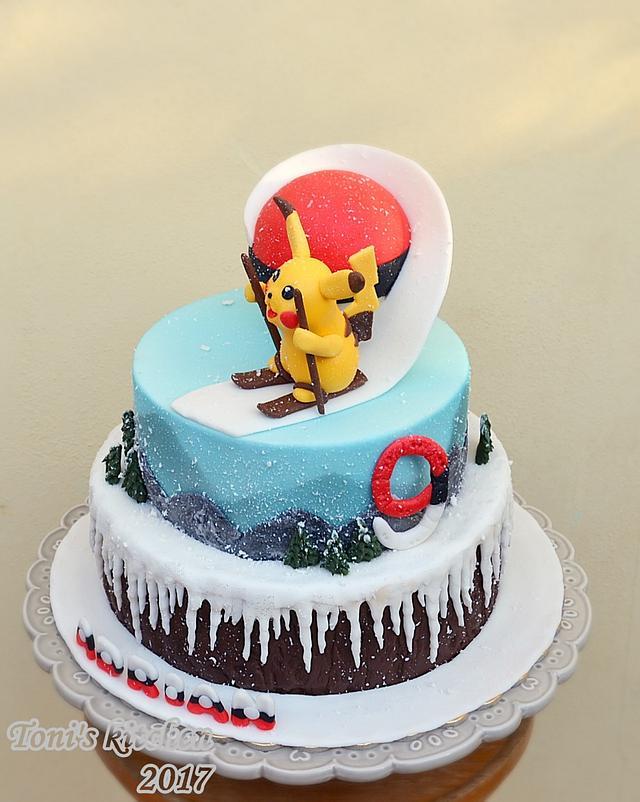 Pikachu Pokemon winter cake