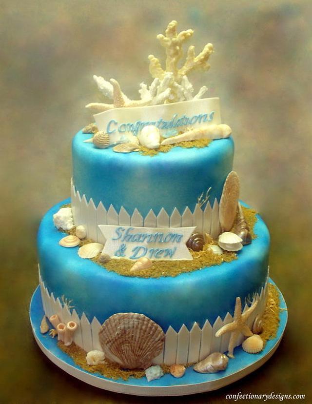 Seashore Themed Engagement Cake
